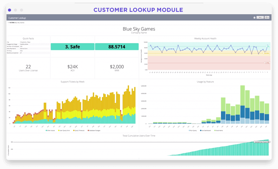 Customer account specific metrics dashboard in Looker screenshot
