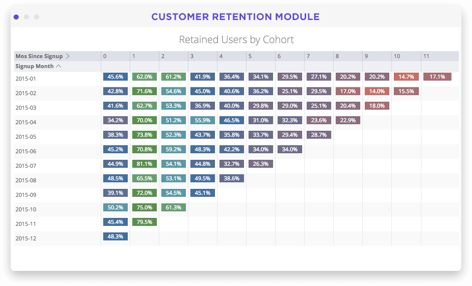 Customer segment and lifetime value dashboard in Looker screenshot
