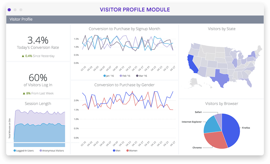 Website visitor cohorts and segment analysis in Looker screenshot